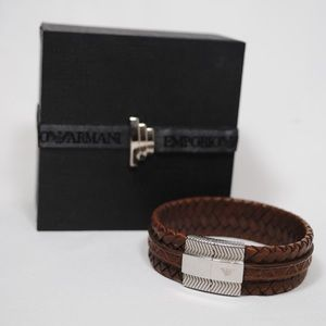 Emporio Armani Weaved Leather Bracelet